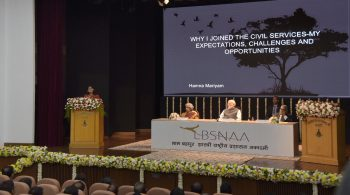 "Officer Trainee Hamna Mariyam presenting her essay on ""Why I joined the Civil Services"" before the Prime Minister, Shri Narendra Modi, at the Lal Bahadur Shastri National Academy of Administration (LBSNAA), in Mussoorie, Uttarakhand on October 27, 2017."